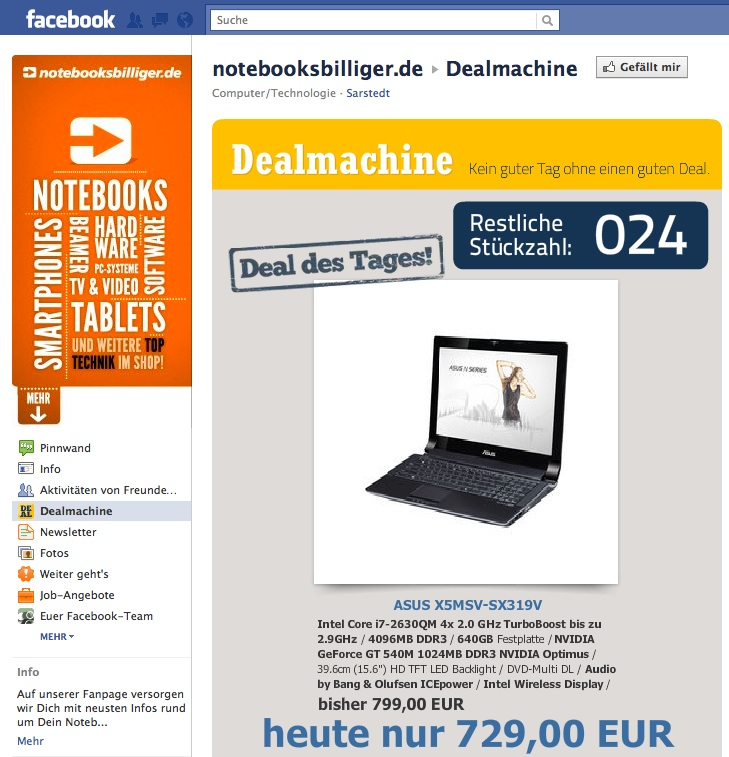 Fallbeispiel Facebook Marketing, Verkaufsförderung, Notebooksbilliger.de